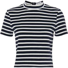Velvet Mock Neck T-Shirt ($195) ❤ liked on Polyvore featuring tops, t-shirts, navy, navy blue tee, crop t shirt, striped tee, striped t shirt and cropped tees