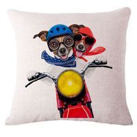 Fashion Cute Dog Cotton Linen Decorative Pillow Case Chair Waist Seat Square 45x45cm Pillow Cover Home Garden Textile