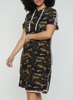 e19d69f007980 Plus Size Soft Knit Camo T Shirt Dress - Green - Size 3X