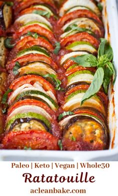 Try delicious ratatouille for dinner tonight! Ratatouille sounds fancy and complicated, but it is actually a fast, easy and flavorful meal that is perfect for weeknight dinners! Beginner Vegetarian, Tasty Vegetarian Recipes, Vegan Dinner Recipes, Vegetarian Recipes Dinner, Vegetable Recipes, Paleo Recipes, Whole Food Recipes, Vegetarian Protein, Vegetarian Breakfast