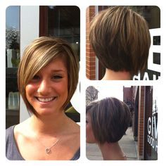 """Love this cut...I do belive my hair needs cut! Check out Lauren's asymmetrical bob I cut. To keep bob illusion without the bulk try undercutting the bottom 2-3"""" of nape area"""