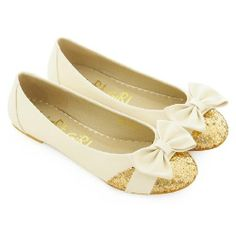 Gold Sequin Ivory Off White Bridal Wedding Party Shoes Ballet Flats SKU-1090867