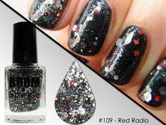 Metallic Silver Holographic Glitter Nail Polish - Red Radio (109) - Sparkle Top Coat #glitter #nailpolish #nail polish
