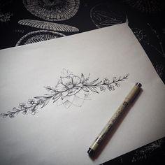Под грудь. #эскиз #эскизтату#annabravo #цветочки#мак#мактату#графика#sketch#flowersketch