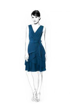 Vestito  - Cartamodello #4547 Cartamodelli su misura Lekala da scaricare gratuitamente Aderente, Tagli, Zip, Balza, Belt, Wrap, Scollo a V, Nessun colletto, Senza maniche, Al ginocchio