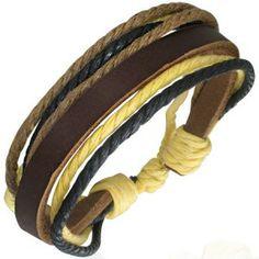 Men's Brown Leather & Multi Colour Cord Surfer Style Bracelet Men's Jewellery #mensfashion #mensjewellery www.urban-male.com
