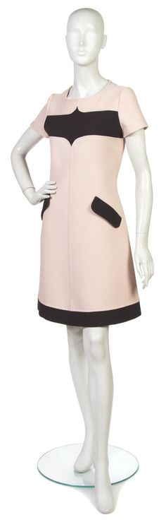 by HoNeLe  Courreges Pink and Brown Wool Dress.: