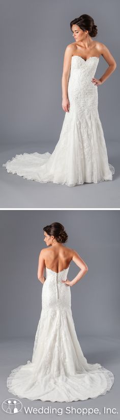 Kennedy Blue Georgia is a timeless wedding dress. This fit-and-flare bridal gown is constructed with detailed lace fabric. The strapless, sweetheart neckline features scalloped edging for extra detail.