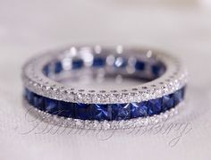 Fantastic Princess Cut  Natural Ceylon Sapphires Ring  Diamonds Engagement Ring 14K White Gold Wedding Ring/ Promise Ring/ Anniversary Ring by AdamJewelry on Etsy https://www.etsy.com/listing/181665752/fantastic-princess-cut-natural-ceylon