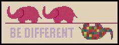 Different elephant cross stitch pattern. $3.50, via Etsy.