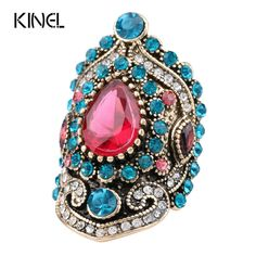 2016 New Turkey Jewelry Pink Vintage Big Wedding Rings For Women Plating Gold Mosaic Sapphire Crystal Fashion Love Gift