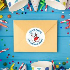 Blue Bowling Birthday Stickers – Chickabug