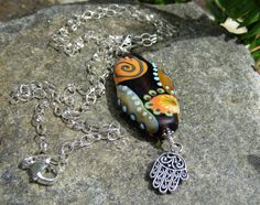 earthen sun lampwork pendant necklace lisa new design artisan hand amulet necklace