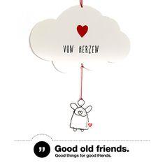 """Engelspost """"von Herzen""""   NEUHEIT von Good Old Friends +++ Direkt aus den Wolken kommen diese bezaubernden #Grußkarten von #GoodOldFriends mit den kleinen Engeln aus Draht. #postkarten #wolkenkarte #drahtanhänger #geschenkideen"""