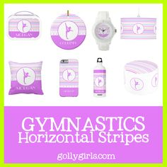 Cute horizontal stripes gifts (most of them with custom text) just for gymnasts!  #gymnastics