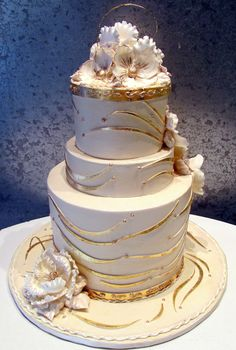 Gold & White Bling | Tiered cake with 24 kt gold application… | Flickr