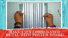 Quick Demo: How To Make Faux Galvanized Corrugated Metal From Poster Board - YouTube Metal Projects, Craft Projects, Craft Ideas, Corrugated Tin, Pallet Crafts, Dollar Tree Crafts, Paper Folding, Galvanized Metal, Poster Making