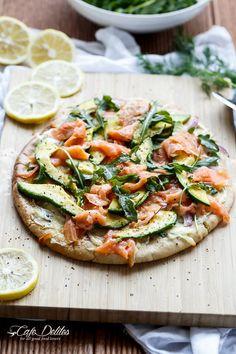 Smoked Salmon and Avocado Pizza | http://cafedelites.com
