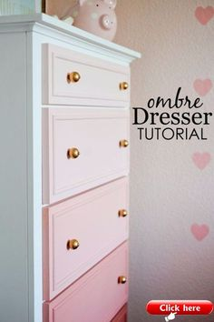 DIY Chalk Paint Furniture Ideas With Step By Step Tutorials - Chalk Paint Ombre Dresser - How To Make Distressed Furniture for Creative Home Decor Projects on A Budget - Perfect for Vintage Kitchen Dining Room Bedroom Bath Chalk Paint Dresser, Chalk Paint Furniture, Kids Furniture, Furniture Decor, Bedroom Furniture, Vintage Furniture, Vintage Dressers, Bedroom Dressers, Furniture Hardware