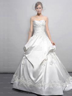 BallGown Sweetheart Satin Chapel Train Ivory Appliques Wedding Dresses at Millybridal.com