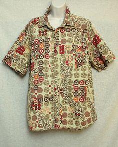 93591fd6 OP Ocean Pacific Medium M Brown Mens Hawaiian Shirt Floral S/S Short Sleeve  Luau