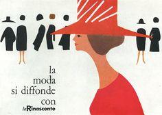 Cartaz feitos pela ilustradora Lora Lamm no final de 1950 para La Rinascente, uma loja de departamento italiana. Lora Lamm,  nasceu em Arosa, Suiça, em 1928. Ela foi uma das principais contribuintes de estilo e design de Milão, na Itália, durante os anos pós-guerra de 1950 a 1960.