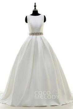 Luxurious A-Line Bateau Train Satin Ivory Side Zipper Wedding Dress with Beading and Sashes LD3845