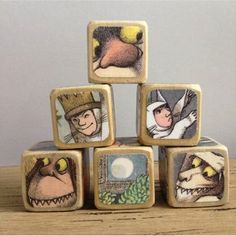 A set of handmade wooden blocks featuring scenes from Maurice Sendak's classic Where the Wild Things Are makes an heirloom-quality first birthday gift. First Birthday Gifts, First Birthdays, Block Area, Recycled Books, We Will Rock You, Gifted Kids, Wood Toys, Book Crafts, The Book