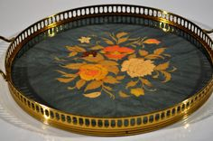 Unique Italian Floral Brass Inlaid Wood Meta Di by decor4home2
