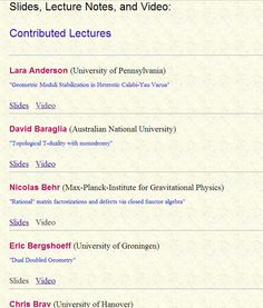 Research talks from the University of Pennsylvania.    http://www.math.upenn.edu/StringMath2011/notesct.html