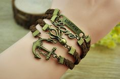 Bronze Anchor & Love Octopus Leather Bracelet  Cuff by Richardwu, $6.99