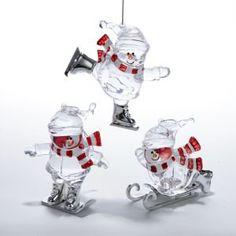 Winter Sports Acrylic Snowman Ornaments Item #H1008  Each ornament ...