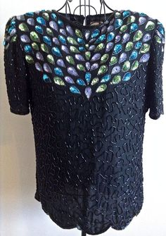 Vintage Leslie Fay Evenings Beaded Sequin Top Blouse 100% Silk Black Lined XL #LeslieFay #Top
