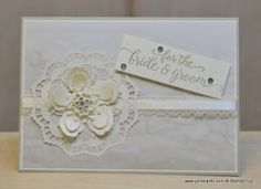 To create this card, I used the Stampin' Up! Falling For You Stamp Set, Falling in Love Designer Series Paper, Lace Doilies, Falling in Love embellishments, and Botanical Builder Thinlits Dies. This is goig to be my absolute favourite out of the new suites available in the new Spring catalogue!