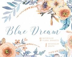 Blue Dream Watercolor Bouquets, Wreath hand painted clipart, floral wedding invite, greeting card, diy clip art, flowers
