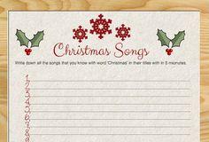 Free Printable Christmas Songs Game