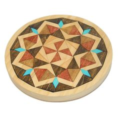 Wooden Mandala Mosaic Tray Puzzle - Triangles