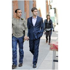 Chace Crawford in 'Gossip Girl' Films in NYC ❤ liked on Polyvore