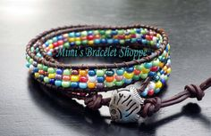 Multicolored double wrap bracelet with fish by MimisBraceletShoppe, $25.00 - 2 available