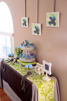 Baby boy shower lime green teal turquoise decor and table