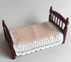 Dollhouse Miniature Single Bedspread Crochet by MiniatureJoy