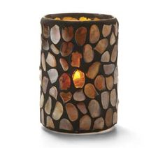 Pebble Cylinder, 4.38x3-in, Glass, Amber Mosaic