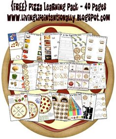 FREE Pizza Learning Pack 40 pages of pizza themed learning about shapes colors fractions graphs telling time counting by addition plural words story comprehension syl. Educational Activities, Preschool Activities, Book Activities, Toddler Preschool, Preschool Kindergarten, Journeys Kindergarten, April Preschool, Preschool Centers, Kindergarten Worksheets