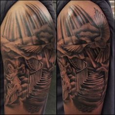 Katrina Jackson: Just finished this stairway to heaven tattoo on my client Terry!