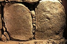 A decorated kerbstone at the great Neolithic passage tomb at Newgrange, Ireland. Description from pinterest.com. I searched for this on bing.com/images
