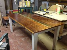 DIY Farm House Table with Instructions and tapered legs.