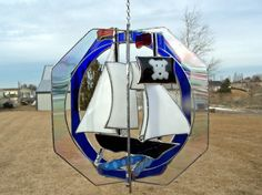 Pirate Ship Stained Glass Suncatcher by creationsinglass on Etsy, $110.00