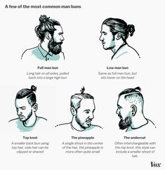 A few of the most common man buns