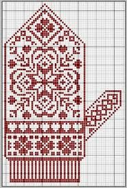 idea for mittens for steve, black red and white, would be nice with i cord cast… Mittens Pattern, Knit Mittens, Knitted Gloves, Knitting Socks, Knitting Charts, Knitting Stitches, Knitting Patterns, Cross Stitch Embroidery, Cross Stitch Patterns