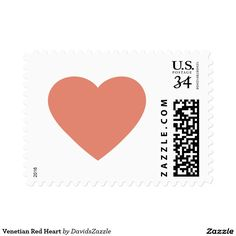 Venetian Red Heart Stamp  Available in three rates and three sizes! Also available in many colors! Thanks for looking!  @zazzle #stamp #postage #heart #valentines #day #holiday #send #letter #invitation #love #feeling #emotion #fun #sweet #nice #joy #peace #happy #shape #design #orange #blue #green #yellow #purple #buy #shop #sale #mail #mailing #friend #family #greeting